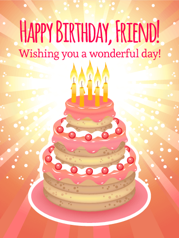 Shining Birthday Cake Card for Friends Birthday Greeting Cards