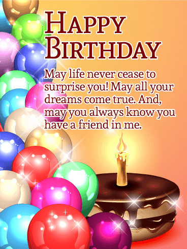 May All Your Dreams Come True! Happy Birthday Card for Friends