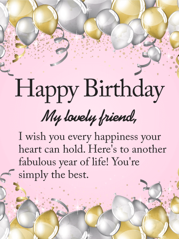 Happy Birthday To My Lovely Friend Card Birthday Greeting Cards
