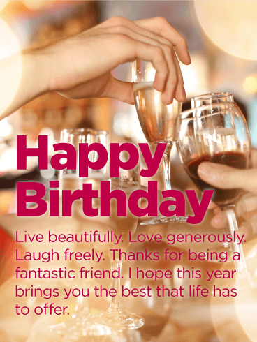 Live Beautifully - Happy Birthday Wishes Card for Friends