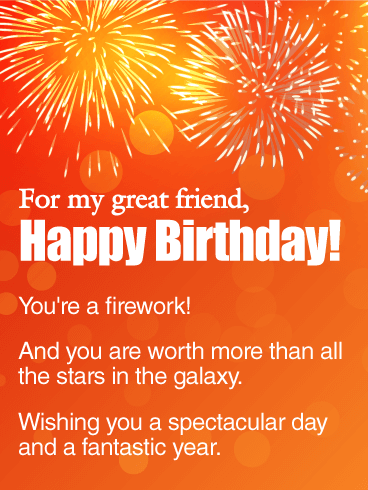 You are a Firework! Happy Birthday Wishes Card for Friends