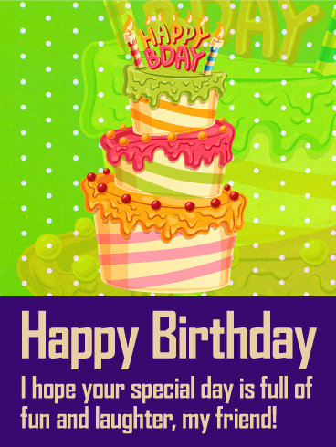 Colorful Birthday Cake Card for Friends