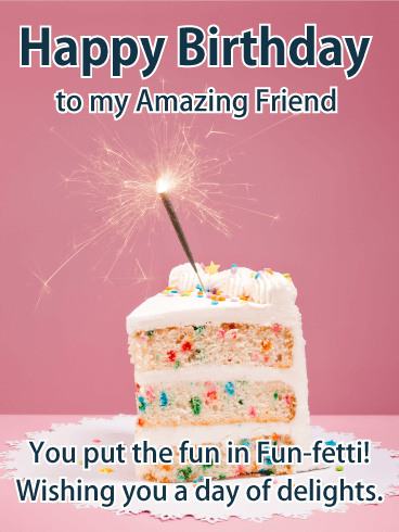 Fun-fetti Birthday Cake Card for Friends