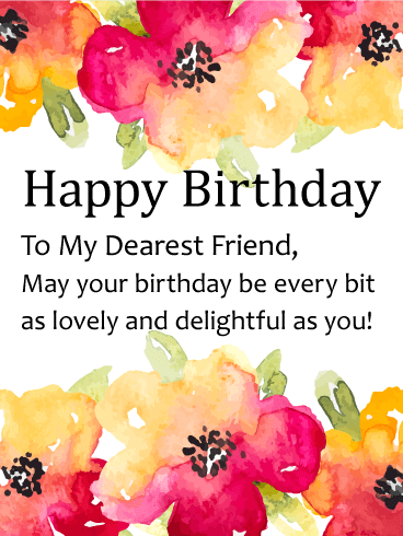 To the sweetest friend happy birthday card birthday greeting watercolor flower happy birthday card for friends m4hsunfo