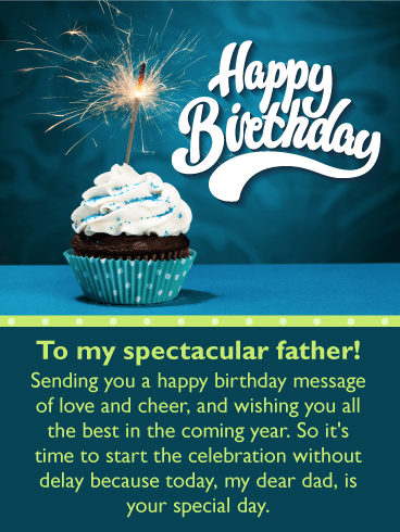 Sparkling Cupcake Happy Birthday Card for Father
