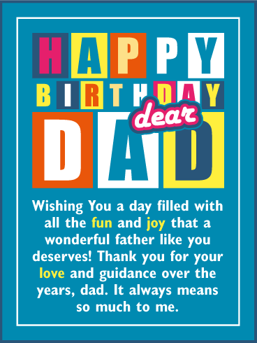 Wishing You a Fun & Joy Day! Happy Birthday Card for Father