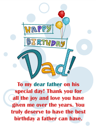 You Deserve the Best Day! Happy Birthday Card for Father