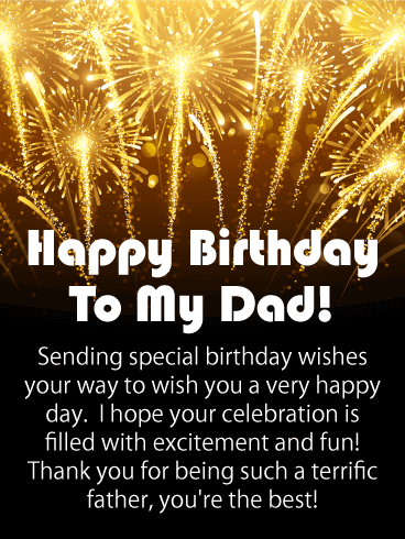 Golden Fireworks Happy Birthday Card for Father