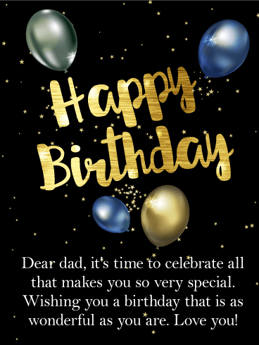 Shimmering Happy Birthday Card for Father