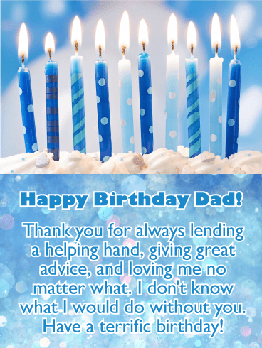 Brightly Lit Candles - Happy Birthday Card for Father