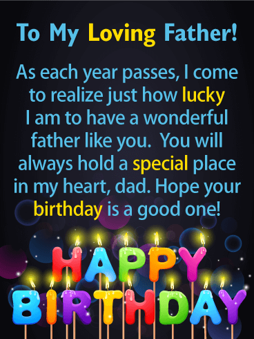 Lucky To Have You Happy Birthday Card For Father Birthday