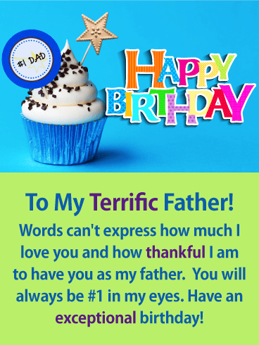 To my #1 Dad - Happy Birthday Card for Father