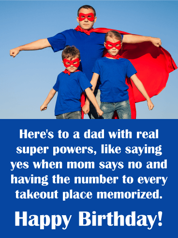 To a Real Super Hero! Funny Birthday Card for Father