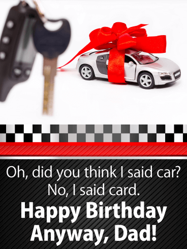 A Car Funny Birthday Card for Father