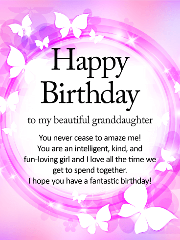 Shining Butterfly Happy Birthday Wishes Card for Granddaughter