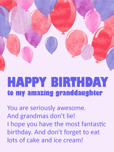 Happy Birthday Wishes Card For Granddaughter