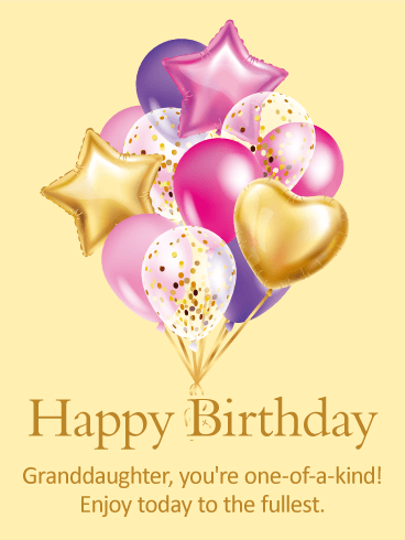 Pretty Birthday Balloon Card for Granddaughter