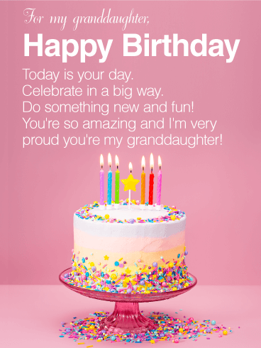 You're Amazing - Happy Birthday Wishes Card for Granddaughter