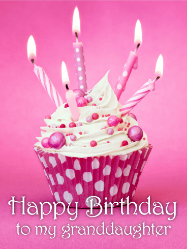 Pink Cupcake Birthday Card for Granddaughter