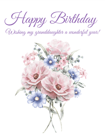 Pretty Flower Happy Birthday Card for Granddaughter