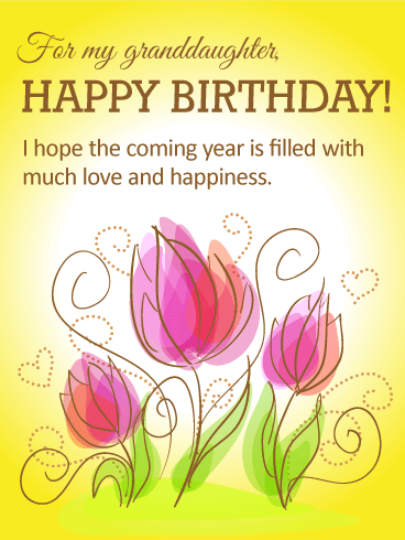 Tulip Happy Birthday Card for Granddaughter