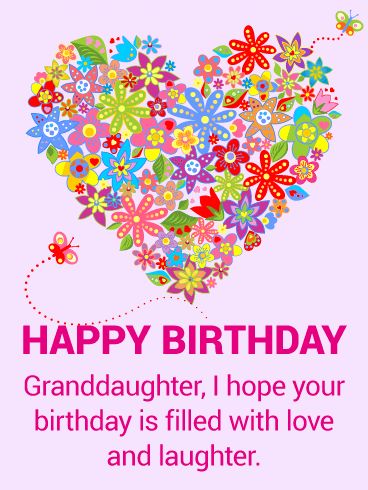 Colorful Flower Happy Birthday Card For Granddaughter