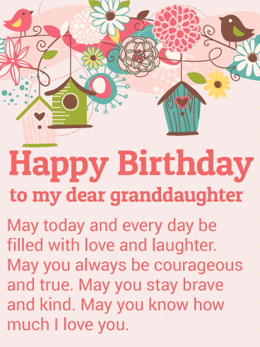 To my Dear Granddaughter - Happy Birthday Wishes Card