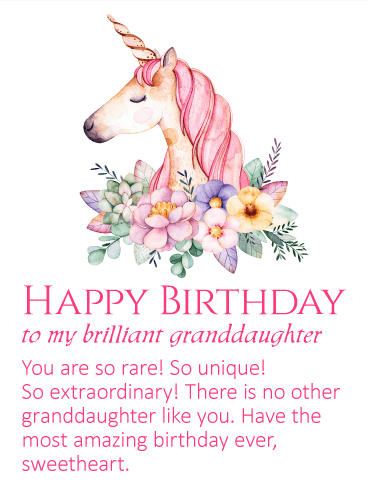 To my Brilliant Granddaughter - Unicorn Happy Birthday Wishes Card