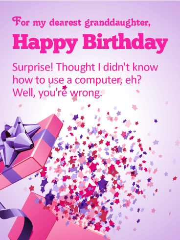 For my Dearest Granddaughter - Happy Birthday Wishes Card