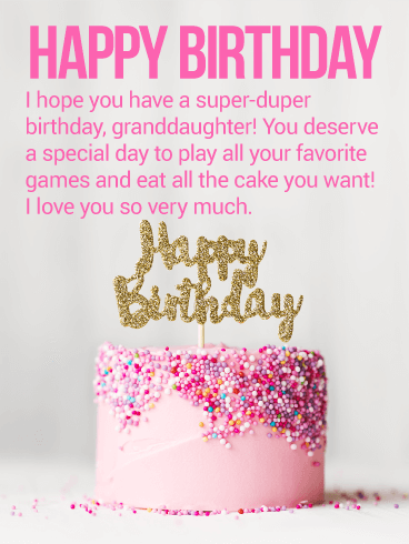 You Deserve a Special Day! Happy Birthday Wishes Card for Granddaughter