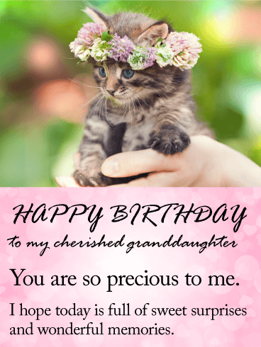 To my Cherished Granddaughter - Happy Birthday Wishes Card