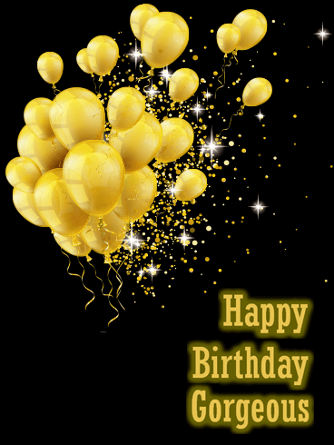 Golden Birthday Balloon Cards Birthday Greeting Cards By Davia