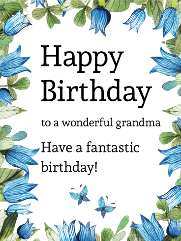 Blue Tulip and Butterfly Birthday Card for Grandma