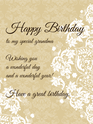 To My Special Grandma - Elegant Birthday Card