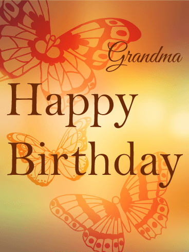 Orange Butterfly Birthday Card for Grandma