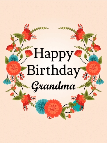 Cute Red Flower Birthday Card for Grandma