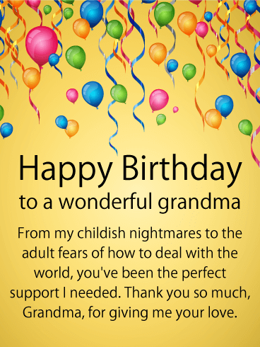 To my Perfect Supporter - Happy Birthday Card for Grandmother
