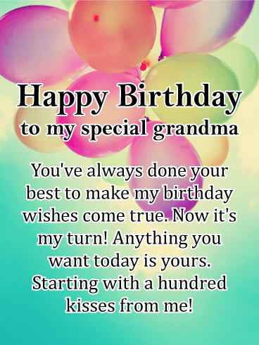 A Hundred Kisses - Happy Birthday Card for Grandmother