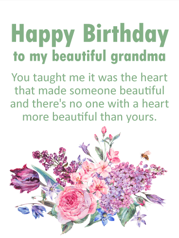 To My Beautiful Grandma Happy Birthday Card Birthday Greeting