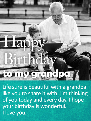 I'm Thinking of You - Happy Birthday Wishes Card for Grandpa