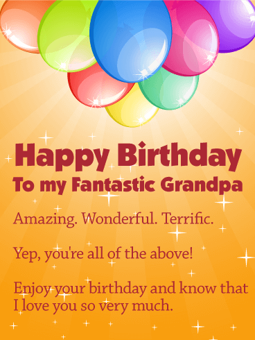 To My Fantastic Grandpa Happy Birthday Card Birthday Greeting