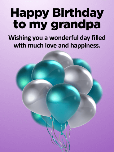 Blue White Birthday Balloon Card For Grandpa