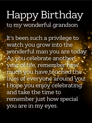 How Special You are! Happy Birthday Wishes Card for Grandson