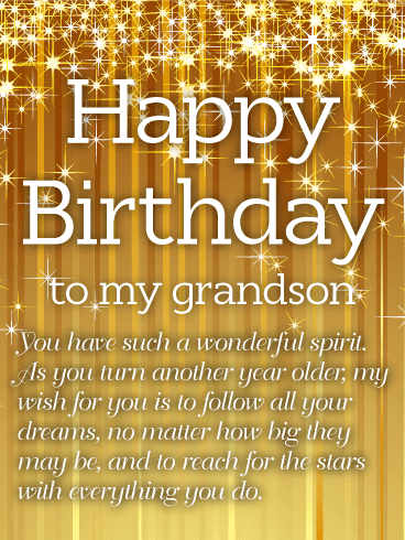 Golden Happy Birthday Wishes Card for Grandson