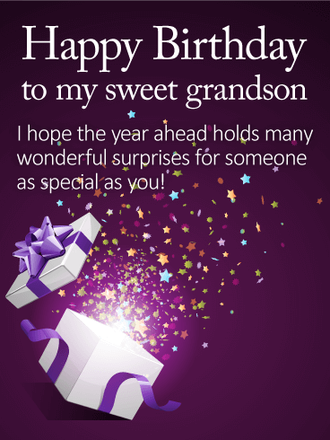 To my Sweet Grandson - Happy Birthday Wishes Card