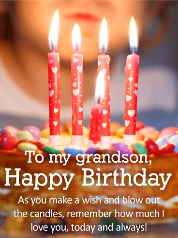 Blow Out the Candles! Happy Birthday Wishes Card for Grandson