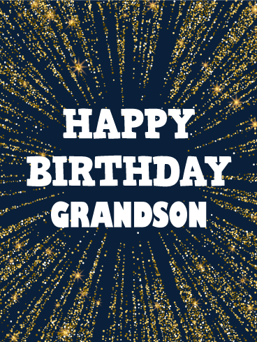 Golden Spangle Happy Birthday Card For Grandson