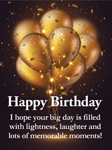 Golden Balloon Happy Birthday Wishes Card for Grandson