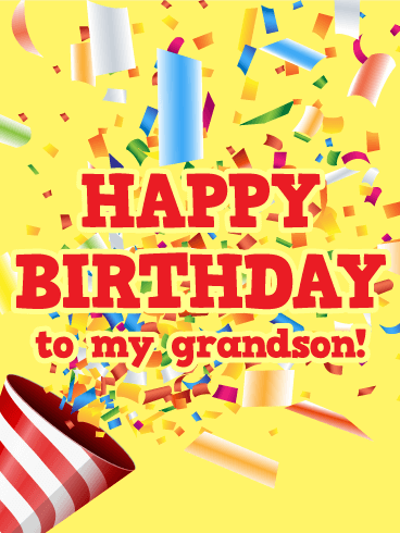 Party Popper Happy Birthday Card for Grandson