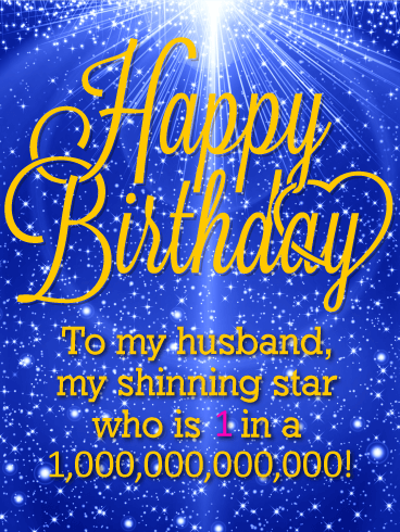 You are my Shinning Star - Happy Birthday Wishes Card for Husband